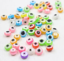 100Pcs 8mm Acrylic EVIL EYE Loose Spacer Beads Jewelry Making DIY Craft New