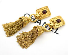 CHANEL Tassel Fringe Dangle Earrings Red Gripoix stone Gold Clips w/BOX p7295