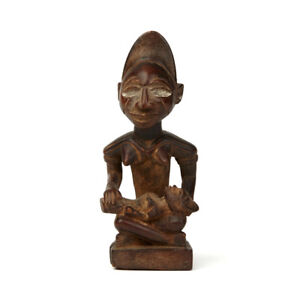 WEST AFRICAN CARVED MOTHER & CHILD WOOD FIGURE
