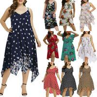 Summer Women Beach Boho Long Maxi Evening Party Dress Floral Sundress Plus Size