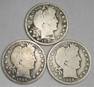 Barber Silver Half Dollars Lot of 3 1908-O(2), 1915-S AG81