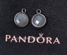 Authentic PANDORA Silver Oxidized Elegance Grey Moonstone Earrings 290662MSG