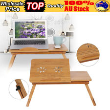 Adjustable Folding Bamboo Laptop Table Desk Notebook Book Reading Bed Tray Stand