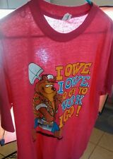 Vintage Union Off to Work i Go t shirt Bear Cartoon Quote Paper Thin Large Surf