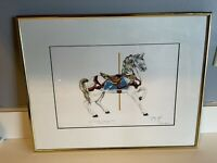 Signed & Numbered Art Print, carousel horse, toy amusement George Sperl -1920
