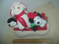 Hallmark 2007 Jingle Pals singing plush Penguin, Snowman and dog on a sled