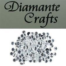 200 x 6mm Clear Diamante Loose Round Flat Back Rhinestone Craft Embellishments