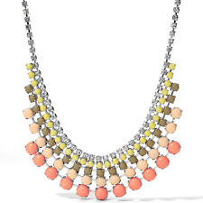 Fossil Brand Silver Tone Color Cupchain Crystal Peach Multi Frontal Necklace $88