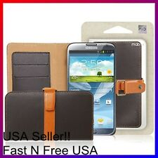 [Brown] Samsung Galaxy Note 2 II [MobC] Genuine Leather Wallet Stand Diary Case