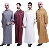 Men's Saudi Thobe Galabeya Thoub Abaya Robe Arabic Kaftan Muslim Long Dress Robe