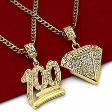 "14K Gold Plated St Steel Chain 24""/30"" 100 Emoji/Dia Pendants Set 106/139"