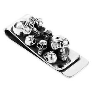 DIAMOND SKULL 925 STERLING SILVER BILL MONEY CLIP HOLDER NEW MENS BIKER ROCKER