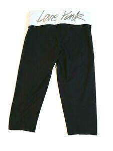 Pink Victorias Secret Wide Leg Crop Pants Size Small Foldover Waist Black