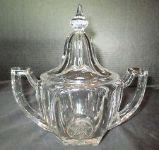 Vintage Paneled Hexagon Shaped Sugar Bowl or Candy Dish Heavy