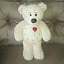 First & Main TENDER TEDDY 11in Cream Fuzzy Fur Plush Red Plaid Heart #1815