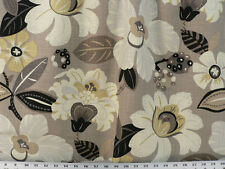 Drapery Upholstery Fabric Durable Linen Blend Floral Print - Tan Multi