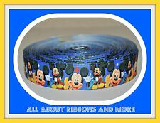 7/8 INCH ALL MICKEY MOUSE ON BLUE GROSGRAIN RIBBON- 1 YARD