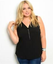 NEW..Stylish Plus Size Black Sleeveless Top with Bling Zipper Front..Sz18/3XL