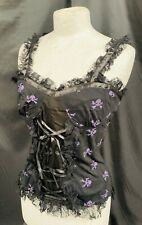 vest top with skulls and lace trim