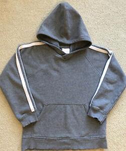HANNAH ANDERSSON Sz 10 (140) Boys Gray Hoodie Sweatshirt White Stripes 🦖READ🦖