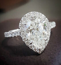 Natural 1.20 Ct Pear Cut Diamond Engagement Ring F,VS2 GIA 14K White Gold NEW