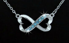 Two of Hearts Infinity Austrian Aqua Crystal Silver Tone Pendant Necklace Love
