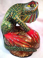 Iguana LIZARD Alebrije Fabulous Hand Painted Wood Carving Oaxaca Mexico
