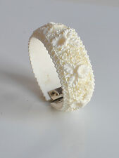 vintage Art Deco Deep Molded White Celluloid Clamper BRACELET Floral Design
