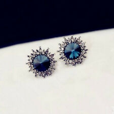 1 Pair Retro Sun Stud Luxury Flower Star Jewelery Blue Earrings Rhinestone