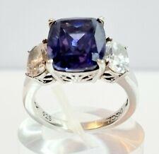 Diamonique Simulated Emerald Cut Blue Saphire & Gems Ring Silver 925 Size M 1/2.
