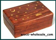 """Celestial Wooden Carved Tarot Box Wicca Pagan 4 X 6"""" inchs FREE SHIP Jewerly box"""