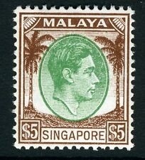 SINGAPORE-1948 $5 Green & Brown Perf 14 Sg 15 LIGHTLY MOUNTED MINT V13578