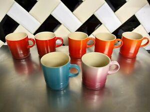 7 Le Creuset Stoneware Mugs 350ml Teal pink red orange