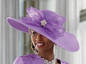 Ashro Lavender Rhinestone Embellished Formal Dress Jazlynn Hat One Size NEW NWT