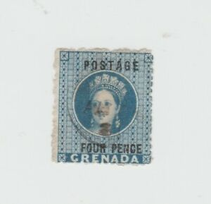Grenada-1881 Q V 4d blue overprint perf 14 1/2 with small star watermark SG 23