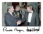 Donald Trump meets Ronald Reagan with Preprinted autographs 8x10 Photo