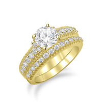 2.10 Ct White Diamond Wedding Bridal Band Engagement Ring Set 14k Yellow Gold Fn