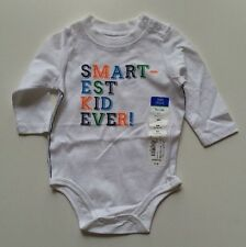 "okie dokie White ""Smartest Kid Ever!"" Bodysuit - Size 6 Months - NEW"