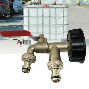 IBC S60X6 Water Tank Outlet Fitting/Connector/Adapter With Two Tap Outlets