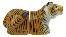 Tiger Porcelain Big Cat Salt & Pepper Shakers - 2 Pieces Approx 4.5cm x 10cm
