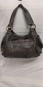 Fat Face Vintage Dark Brown Leather Medium Shouder Hobo Bag VGC