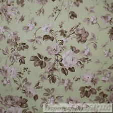 BonEful FABRIC Cotton Quilt Green Grass Mint Leaf Large Rose Flower Toile SCRAP