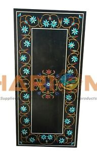 4'x2' Marble Center Dining Table Top Turquoise Floral Inlay Garden Decors B621