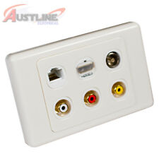 6Gang HDMI 2.0 Cat6 3RCA Gold Plated & PAL TV 6port Datamaster® Wall Plate
