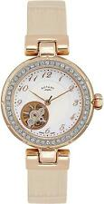 Rotary Women's Automatic Watch with White Dial Analogue Display and White Leathe