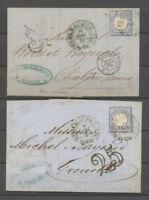 1872 2 lettres Allemagne 2Gr Obl Fer à cheval NON REGLEMENTAIRE X3871