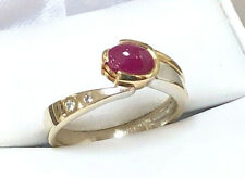 14K RUBY AND DIAMOND RING YELLOW AND WHITE GOLD RING SIZE 7.25 NATURAL SAPPHIRE