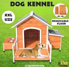 XXL Pet Dog Timber House Wooden Kennel Log Cabin Wood Porch Storage Box Bowls