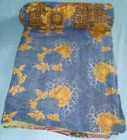 Kantha quilt hand stitched old cotton saree patchwork bedspread indian throw