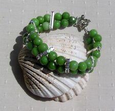 "Green Peridot Crystal Gemstone Chakra Bracelet ""Celtic Cluster"""